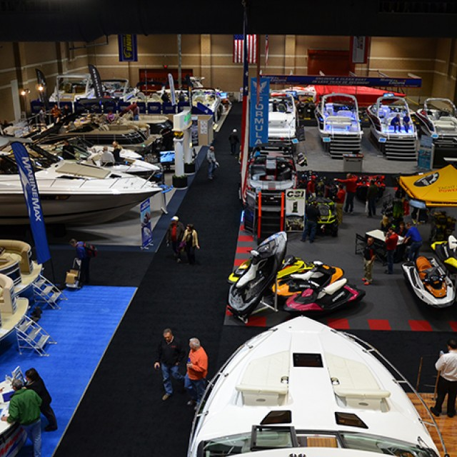 Image of bird's eye view of North and South Exhibit Hall set for the Boat Show.