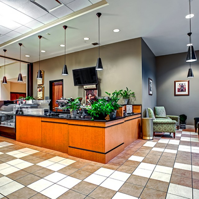 Image of the interior of Compass Cafe with counters and seating.