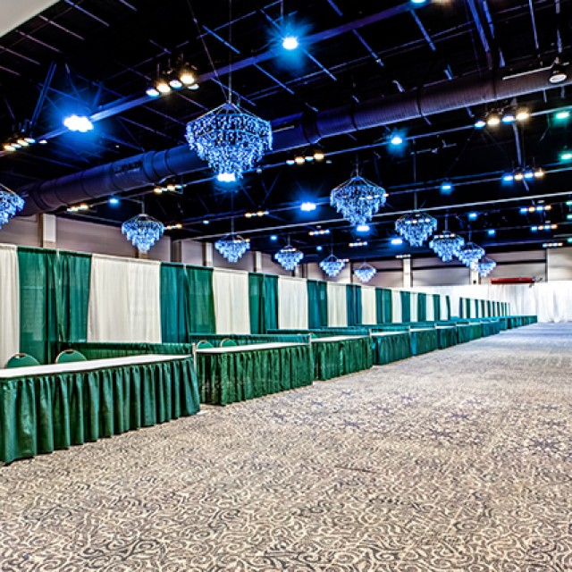Image of North and South Exhibit Hall set in booths.